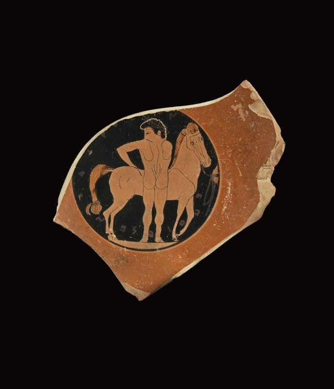 Ceramista Chachrylion (richiama il Pittore Louvre G 38), Fondo di coppa 530-500 a.C. Ceramica Siracusa, Museo Archeologico Regionale Paolo Orsi