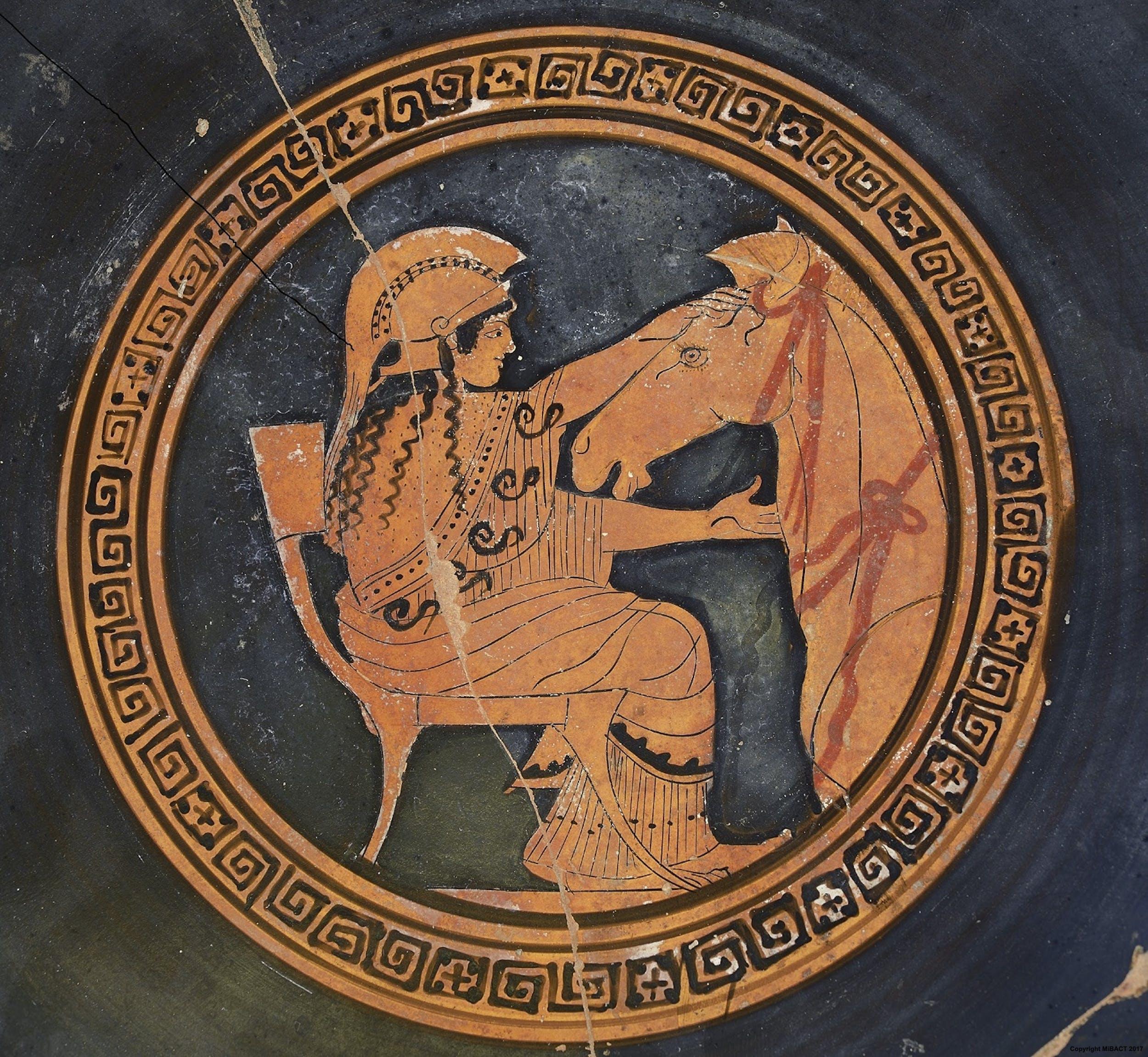 Pittore di Sabouroff Coppa attica con Atena e il cavallo di Troia, intorno al 460 a.C. Terracotta, dipinta nella tecnica a figure rosse Firenze, Museo Archeologico Nazionale