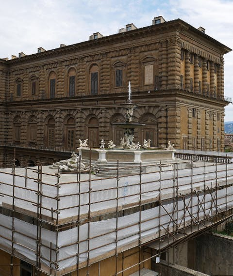 26 June Works of restoration in progress at Ammannati Courtyard in Pitti Palace