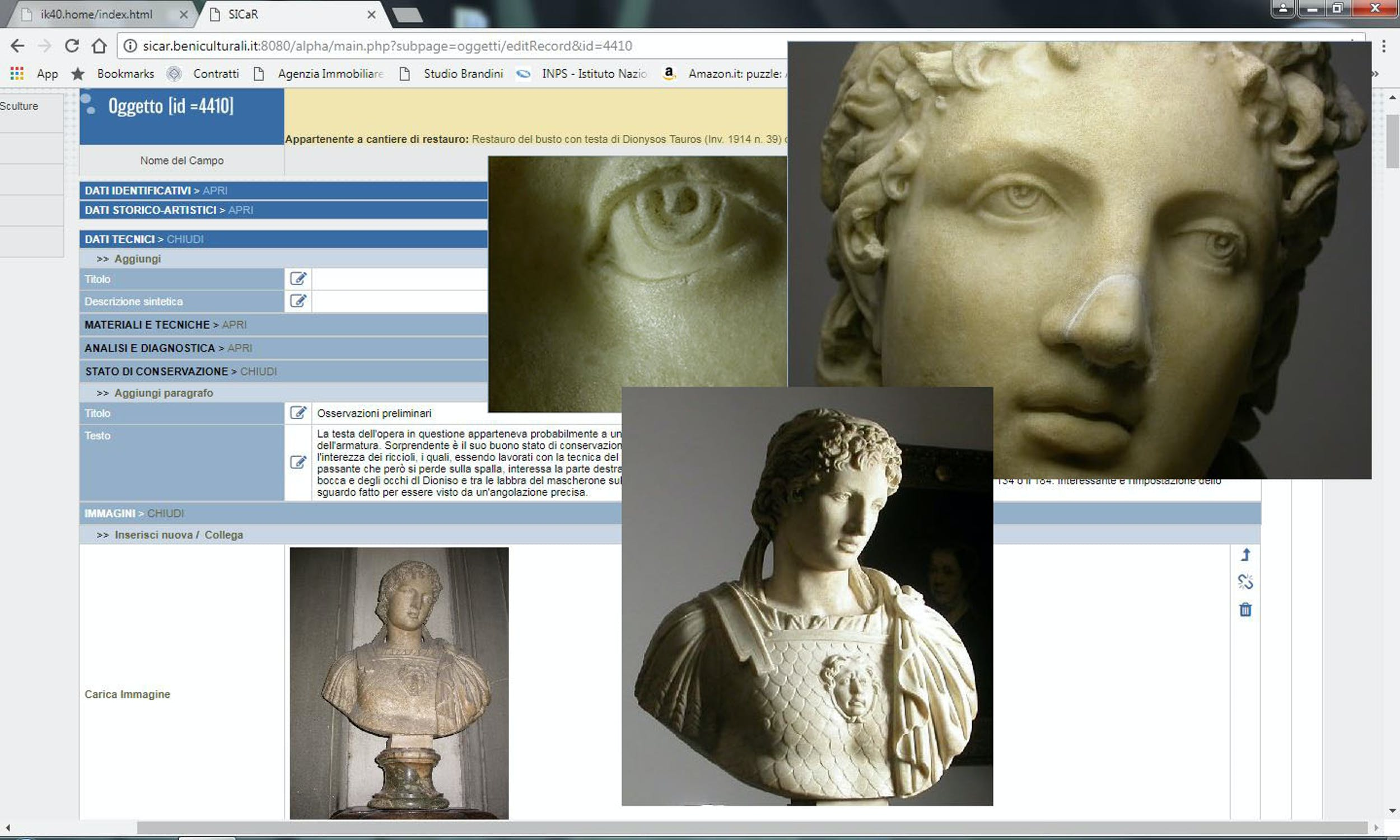 Fig. 2 Busto con testa di Dionysos Tauros (inv. 1914 n. 39), piano terra dello Scalone monumentale d'ingresso, sottoscheda Oggetto in Cantiere di restauro con immagini delle fasi dell'intervento - Bust with head of Dionysos Tauros (inv. 1914 no. 39), ground floor of the monumental staircase entrance, Restoration Object sub sheet with images of the intervention phases.