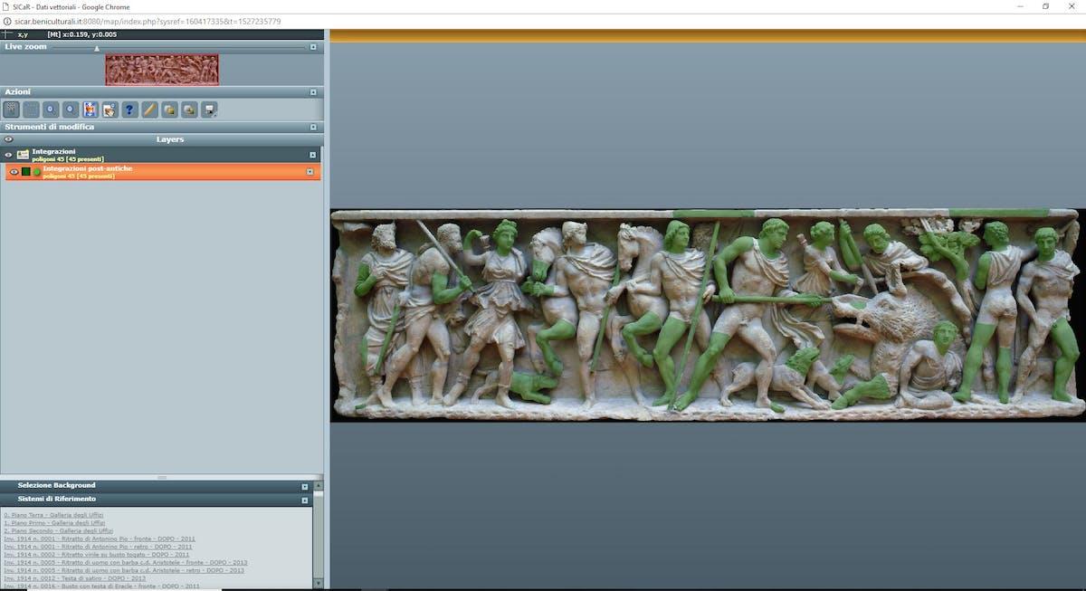 Fig. 3 Sarcofago con scena di caccia calidonica (inv. 1914 n. 135), Sala 34, sistema di riferimento con mappatura delle integrazioni post-antiche - Sarcophagus Calydonian hunting scene (inv. 1914 no. 135), Room 34, reference system with the mapping of post-ancient integrations.