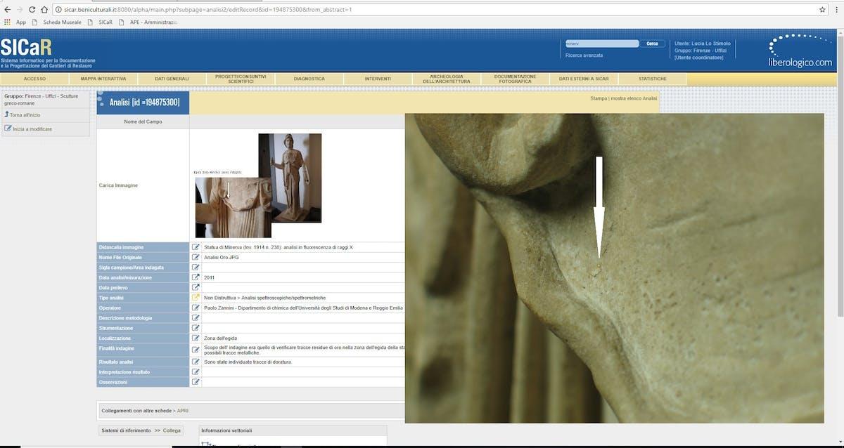 Fig. 6 Statua di Minerva (inv. 1914 n. 238), Sala 96, scheda Analisi con foto della traccia di oro - Statue of Minerva (inv. 1914 no. 238), Room 96, Analysis data sheet with photos of the traces of gold.