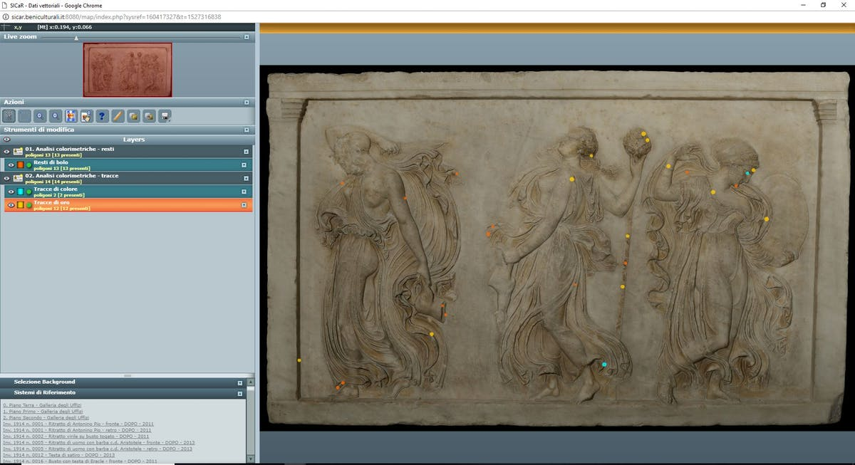 Fig. 9 Bassorilievo con Menadi in orgia (inv. 1914 n. 318), Sala 33, Sistema di riferimento con mappatura delle cromie antiche - 9.Bas-relief with Maenads in orgy (inv. 1914 no. 318), Room 33, reference system with the mapping of ancient colours.