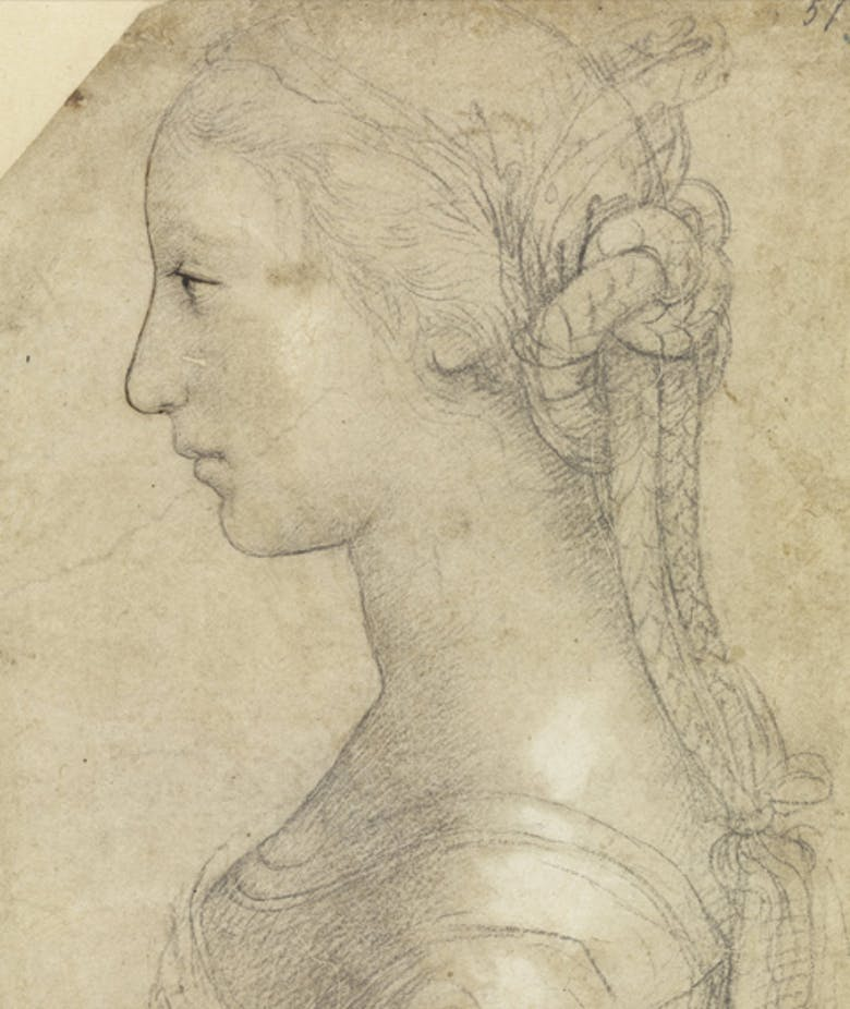 Half-length portrait of a young woman in profile