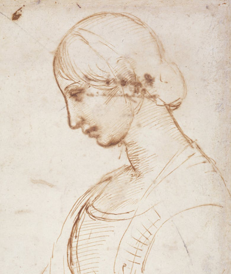 Half-length portrait of a woman in profile