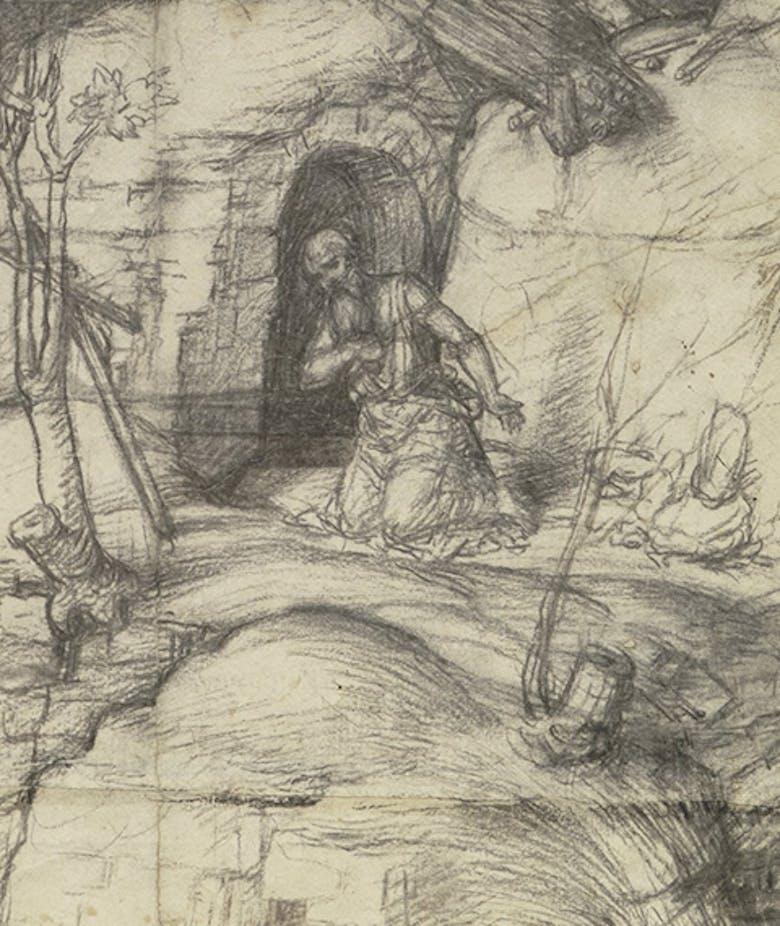 Saint Jerome in Penitence in a rocky landscape