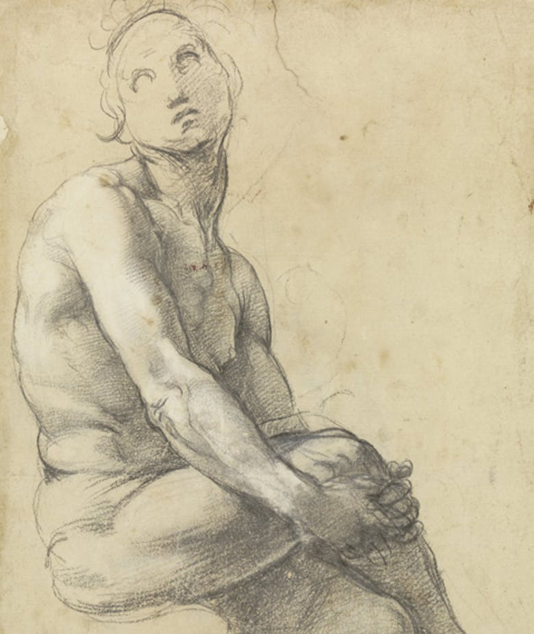 """Preparatory study for Adam in """"Disputation of the Holy Sacrament"""", architectural sketch"""