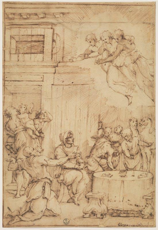 Giorgio Vasari (Arezzo, 1511 - Firenze, 1574) Abramo nella valle di Mambre 1539-1540 pietra nera, penna e inchiostro, carta Gabinetto dei Disegni e delle Stampe, Gallerie degli Uffizi, Firenze