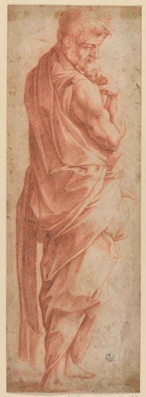 Giorgio Vasari (Arezzo, 1511 - Firenze, 1574) Figura maschile 1539-1540 pietra rossa, carta Gabinetto dei Disegni e delle Stampe, Gallerie degli Uffizi, Firenze