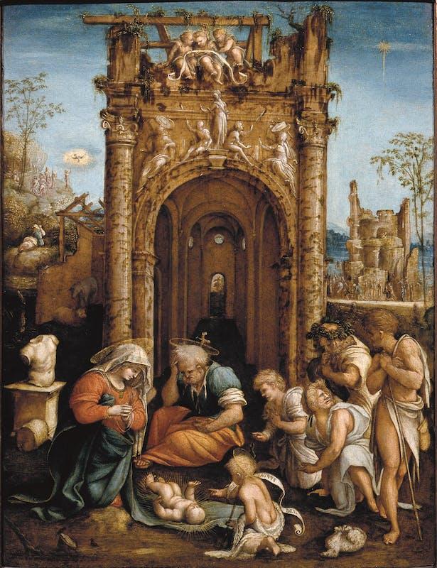 Amico Aspertini (Bologna, 1473/1475-1552) Adorazione dei pastori 1530-1535 ca. olio su tavola Galleria delle Statue e delle Pitture, Gallerie degli Uffizi, Firenze