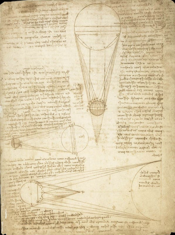 Leonardo da Vinci Il Sole e la Luna visti dalla Terra. Origine della luce lunare Codice Leicester, 1r Courtesy Bill Gates/©bgC3 I Leonardo da Vinci The Sun and the Moon as seen from Earth. Origin of the lunar light Codex Leicester, 1r Courtesy Bill Gates/©bgC3