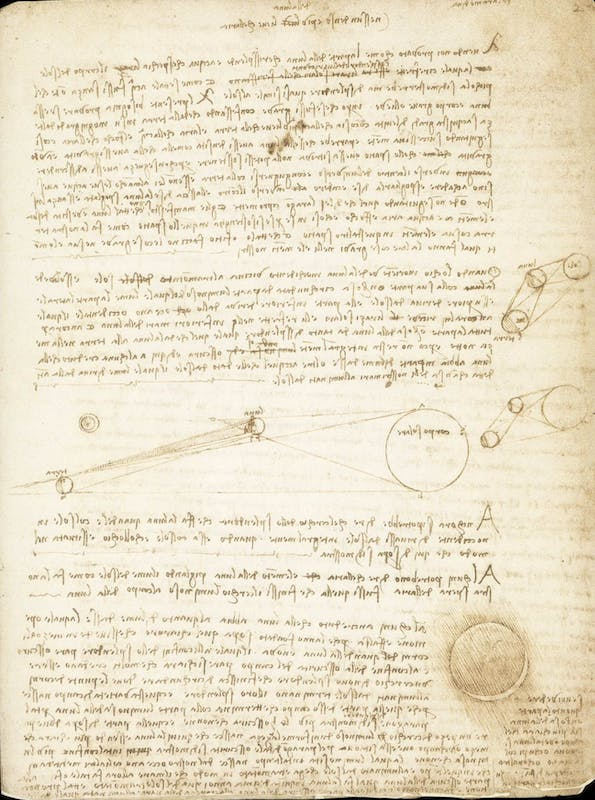 Leonardo da Vinci Origine della luce lunare Codice Leicester, 2r Courtesy Bill Gates/©bgC3 I Leonardo da Vinci Origin of lunar light Codex Leicester, 2r Courtesy Bill Gates/©bgC3