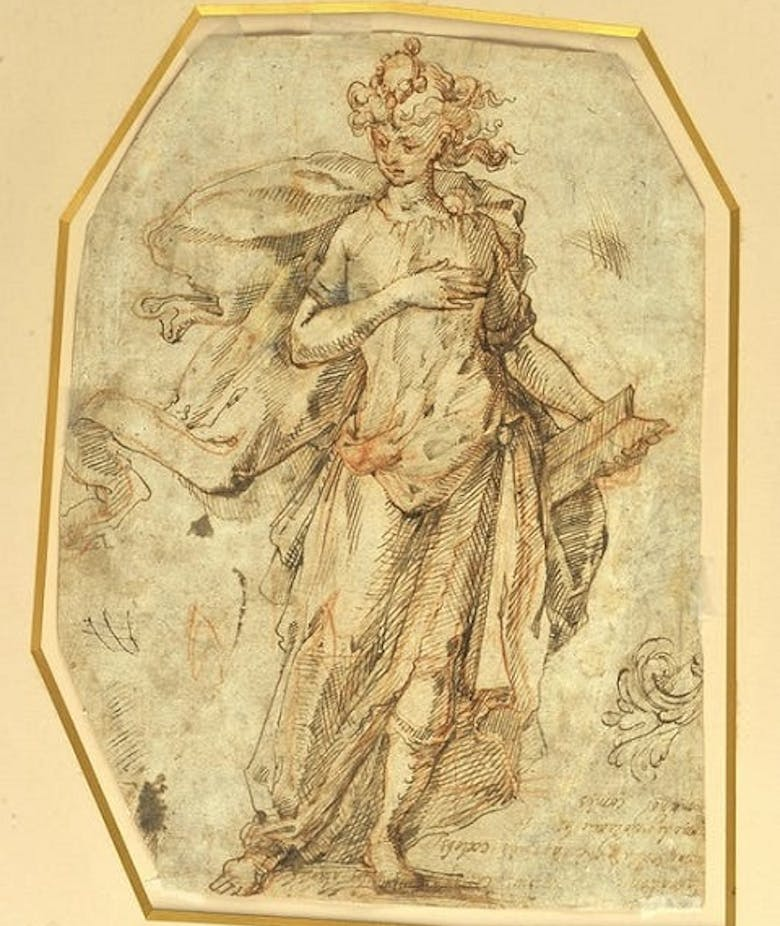 Male Figure with Book; Partial Study of Ornamental Leaf Motif (front). Two Embracing Male Figures; Hand Study (reverse)