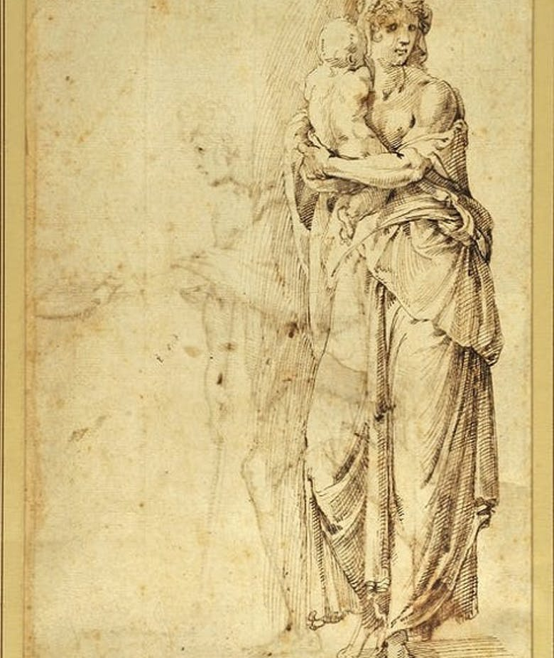 Woman Standing with Child in her Arms (front); Man Begging (reverse)