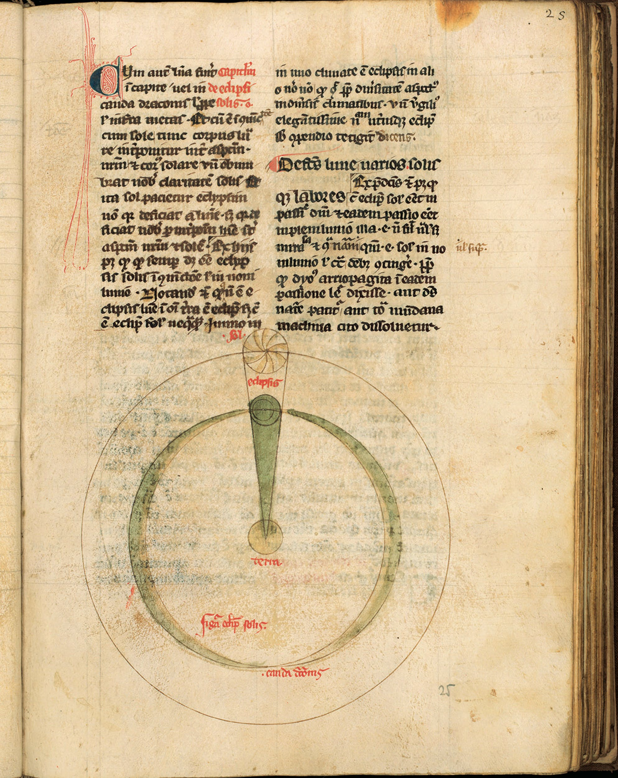 Giovanni Sacrobosco (Halifax, Yorkshire fine del XII secolo - Parigi 1244 o 1256) Tractatus de Sphaera: diagrammi sulle relazioni Sole-Terra-Luna XIV secolo manoscritto membranaceo, f. 25r Biblioteca Medicea Laurenziana, Firenze I John of Holywood (Halifax, Yorkshire late 12th century - Paris 1244 or 1256) Tractatus de Sphaera: diagrams on the relationships between Sun, Earth and Moon 14th century parchment Ms, f. 25r Biblioteca Medicea Laurenziana, Firenze