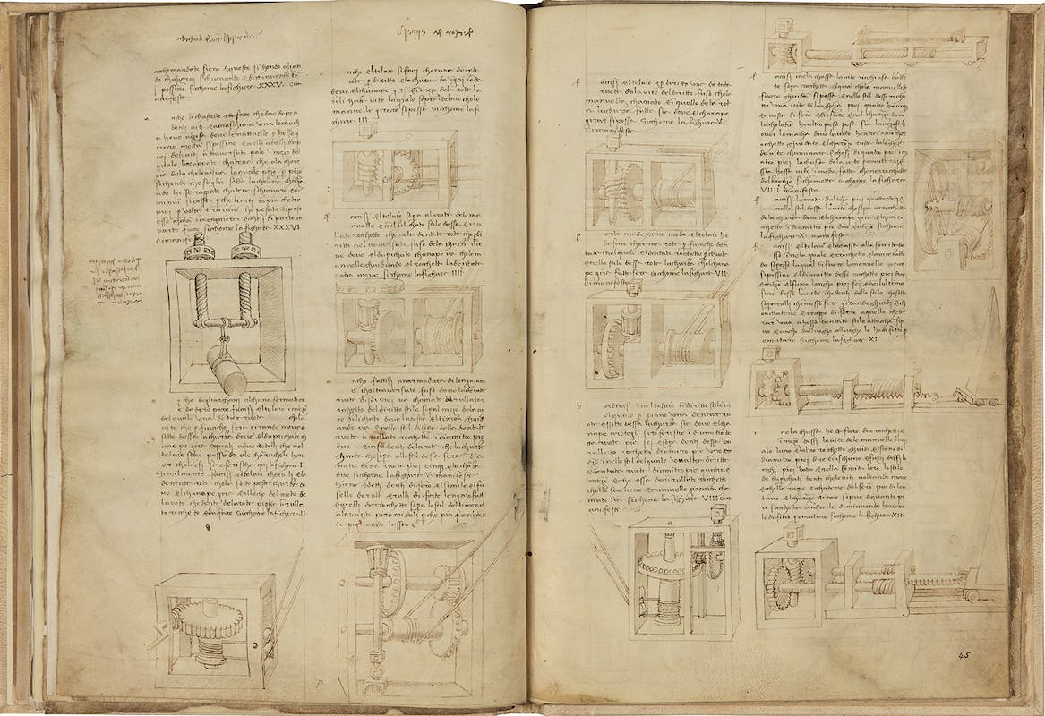 Francesco di Giorgio (Siena 1439-1501) e Leonardo da Vinci Trattato di architettura: tirari e alzari, con note autografe di Leonardo XV secolo  Codice Ashburnham, ff. 44v-45r  Biblioteca Medicea Laurenziana, Firenze I Francesco di Giorgio (Siena 1439-1501) and Leonardo da Vinci Treatise on Architecture: pullers and lifters with autographes notes by Leonardo 15th century parchment Codex Ashburnham, ff. 44v-45r  Biblioteca Medicea Laurenziana, Firenze
