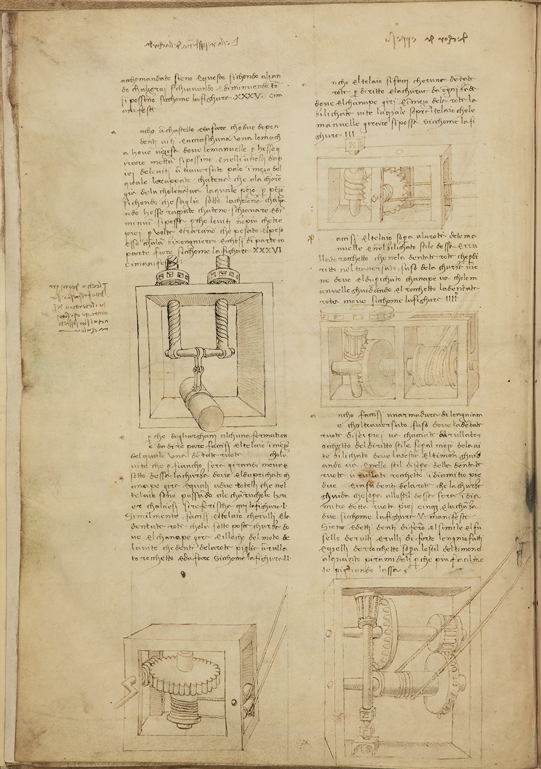 Francesco di Giorgio (Siena 1439-1501) e Leonardo da Vinci Trattato di architettura: tirari e alzari, con note autografe di Leonardo XV secolo  Codice Ashburnham, f. 44v  Biblioteca Medicea Laurenziana, Firenze I Francesco di Giorgio (Siena 1439-1501) and Leonardo da Vinci Treatise on Architecture: pullers and lifters with autographes notes by Leonardo 15th century parchment Codex Ashburnham, f. 44v  Biblioteca Medicea Laurenziana, Firenze