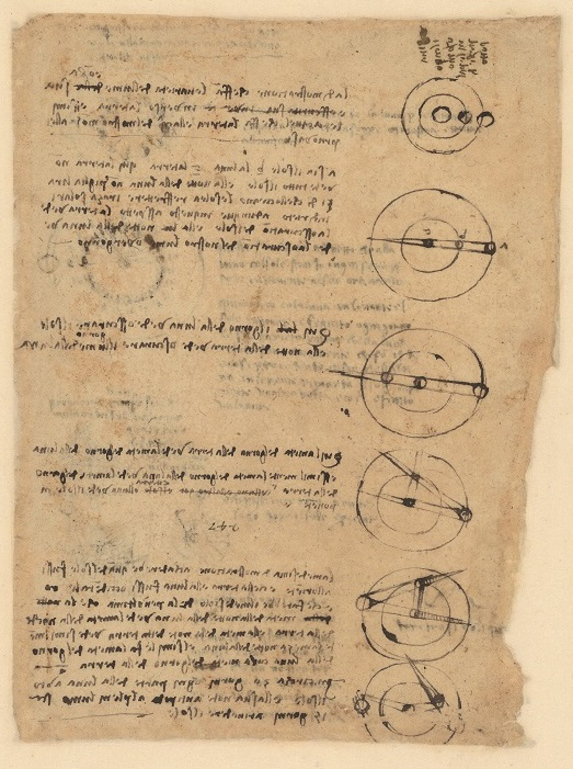 Leonardo da Vinci Sei diagrammi di Terra, Luna e Sole 1513 circa penna e inchiostro, carta bianca a impasto grezzo Codice Atlantico, f. 554v Biblioteca Ambrosiana, Milano I Leonardo da Vinci Six diagrams of Earth, Moon and Sun  1513 circa pen and ink, raw white paper Codex Atlanticus, f. 554v Veneranda Biblioteca e Pinacoteca Ambrosiana, Milano