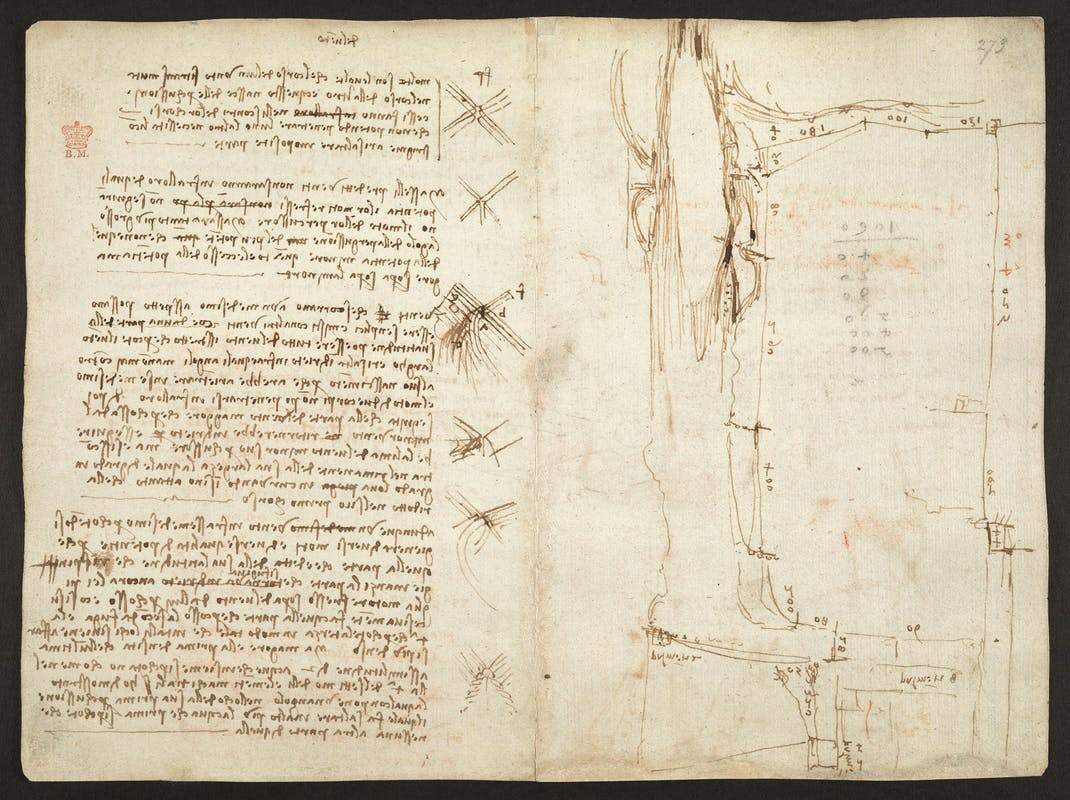 Leonardo da Vinci Studi per la canalizzazione d'Arno e sui moti del vento 1504 circa  penna e inchiostro con tocchi di matita rossa Codice Arundel, ff. 276v-273r British Library, Londra I Leonardo da Vinci Studies for channelling the Arno and on wind 1504 circa  pen and ink, with touches of red pencil Codex Arundel, ff. 276v-273r British Library, London