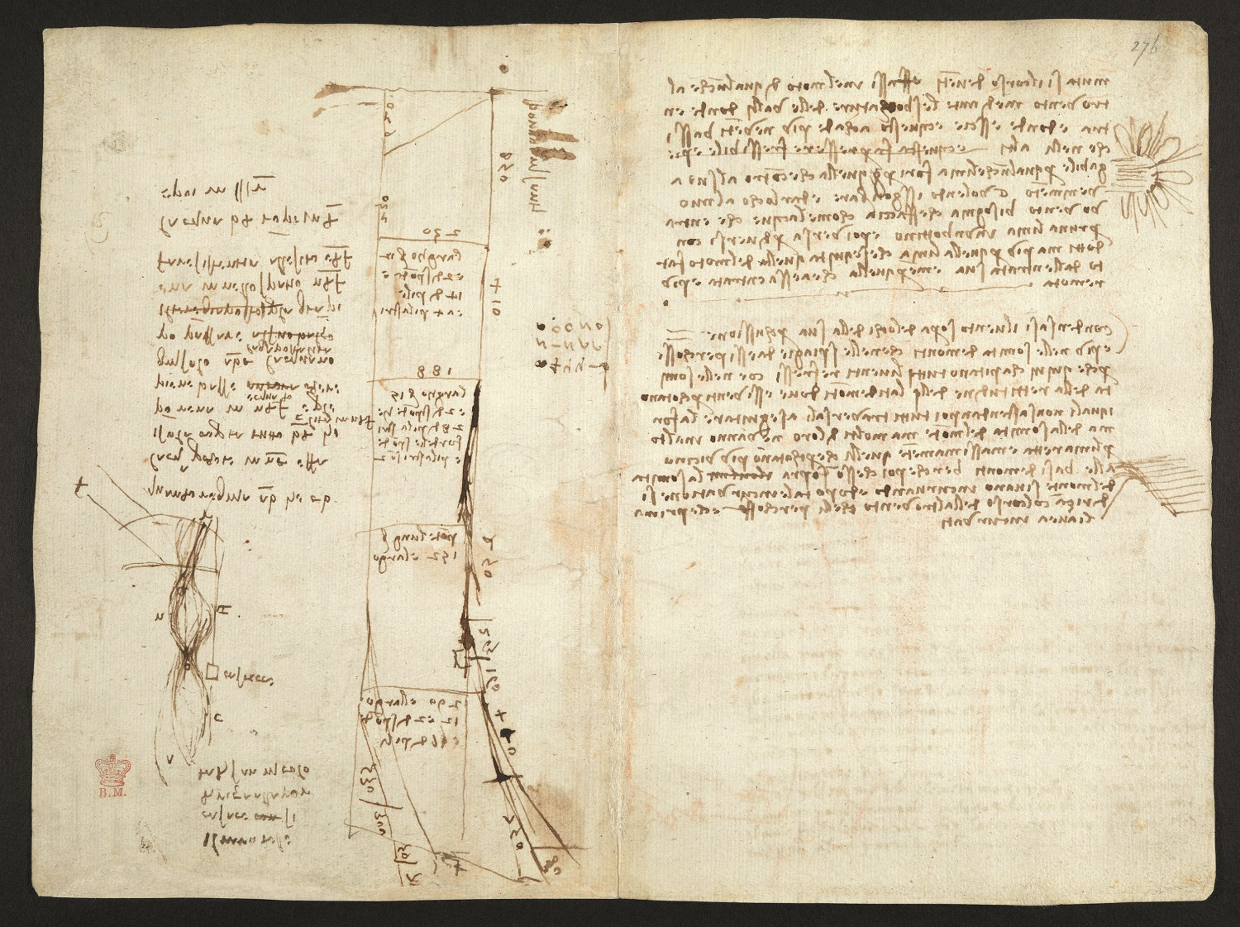 Leonardo da Vinci Studi per la canalizzazione dell'Arno e sui moti del vento 1504 circa penna e inchiostro con tocchi di matita rossa Codice Arundel, ff. 273v-276r British Library, Londra I Leonardo da Vinci Studies for channelling the Arno and on wind 1504 circa pen and ink, with touches of red pencil Codex Arundel, ff. 273v-276r British Library, London
