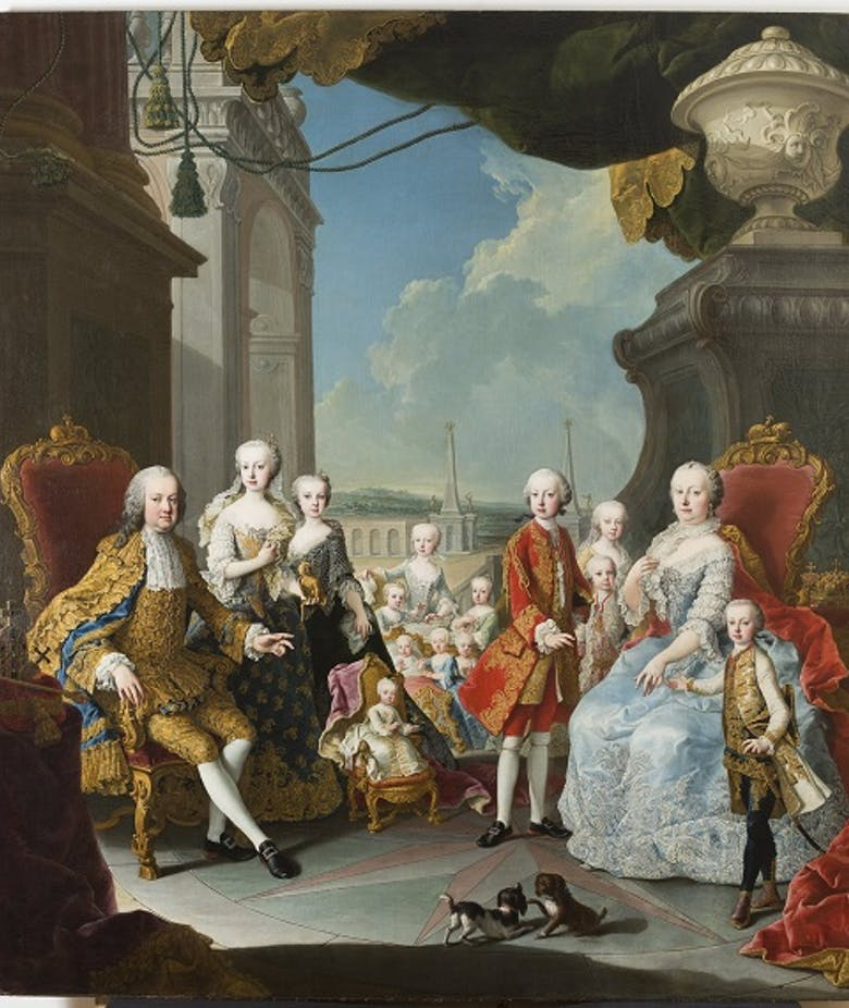 Portrait of Maria Theresa of Habsburg, Francis I, Holy Roman Emperor, and their thirteen children