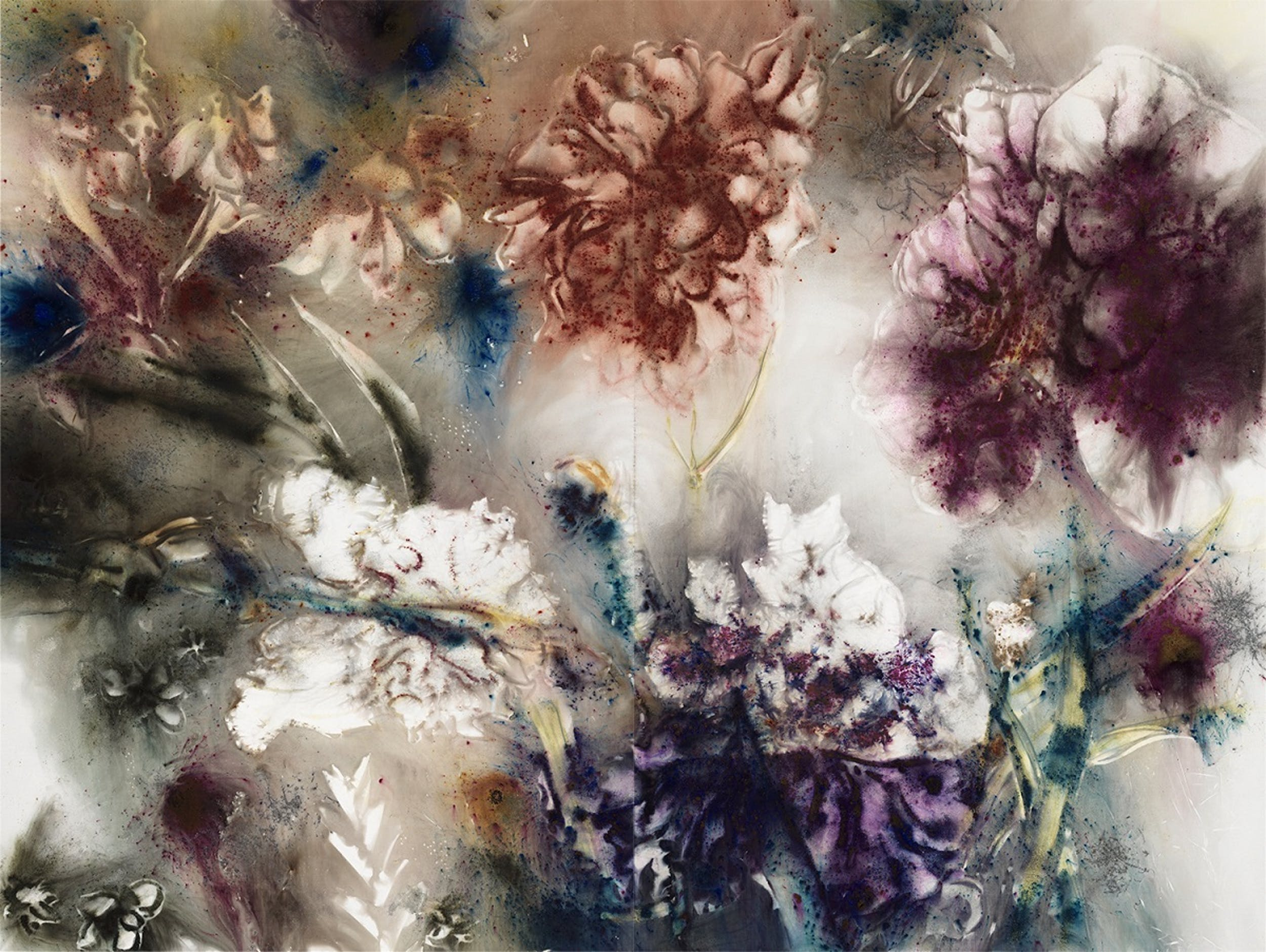 Renaissance Flower Garden, 2018 Gunpowder on canvas; 300 x 400 cm - Photo by Yvonne Zhao, courtesy Cai Studio.