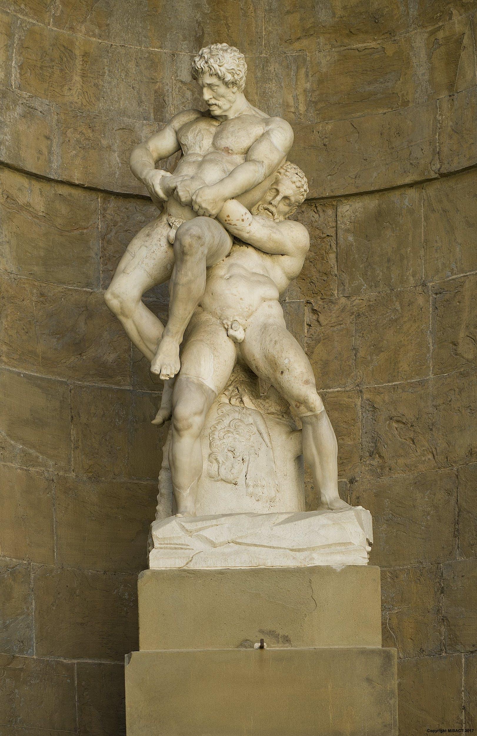 Ancient Gaia Statue hercules and antaeus | artworks | uffizi galleries
