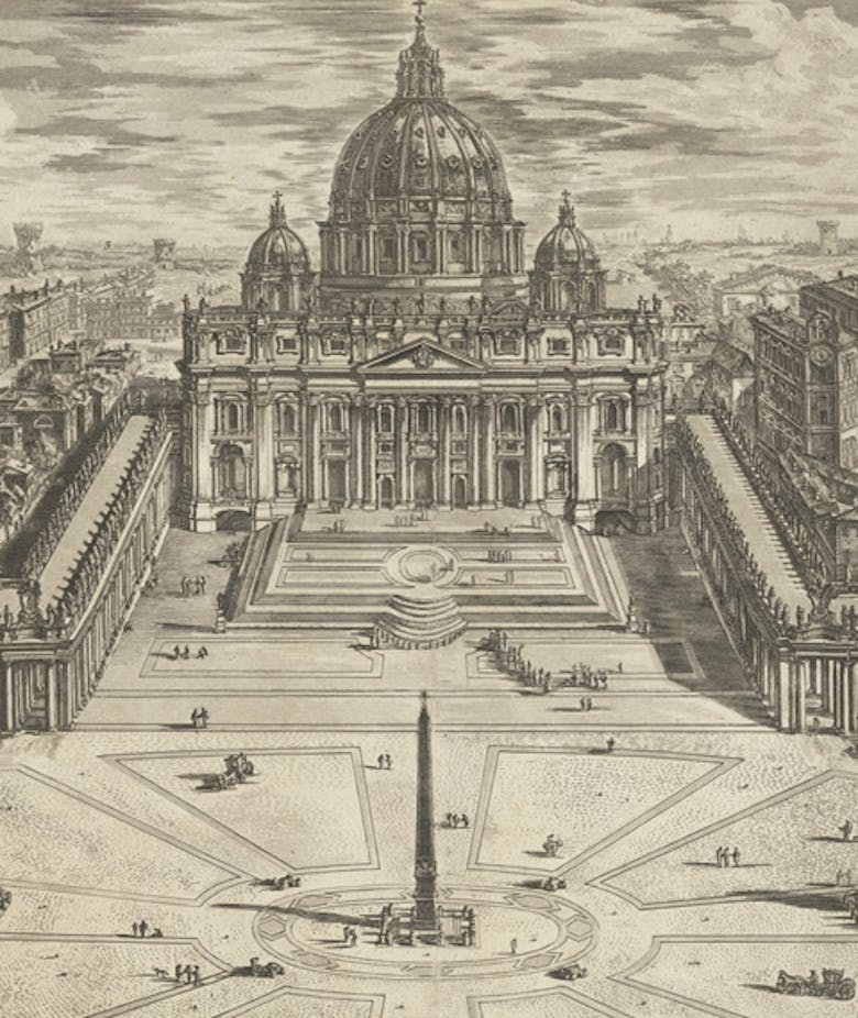 View of the Famous Vatican Basilica with its Spacious Portico and Adjacent Piazza, in 'Views of Rome'