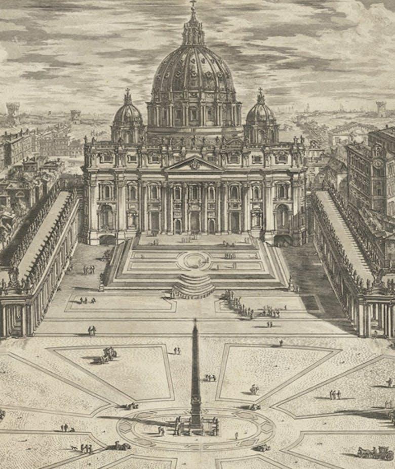 Veduta dell'insigne Basilica Vaticana coll'ampio Portico, e Piazza adjacente, in 'Le Vedute di Roma'