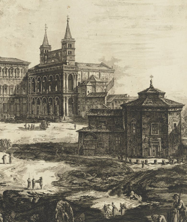 View of the Piazza and the Archbasilica of St. John Lateran in 'Views of Rome'