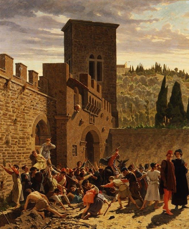 Odoardo Borrani, Il ritrovamento del cadavere di Jacopo de' Pazzi