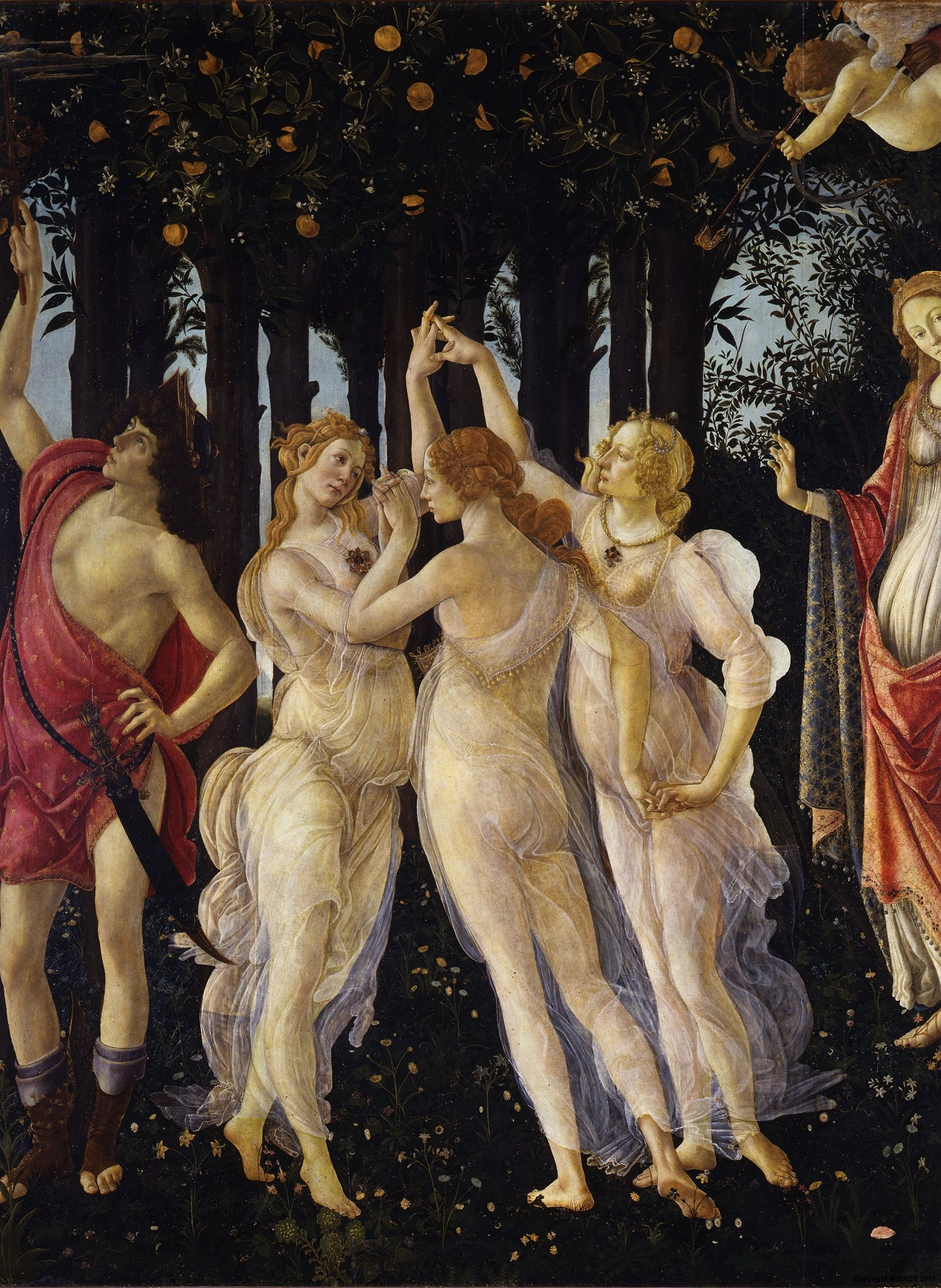 Botticelli, Primavera, 1480c, Le Grazie, part.