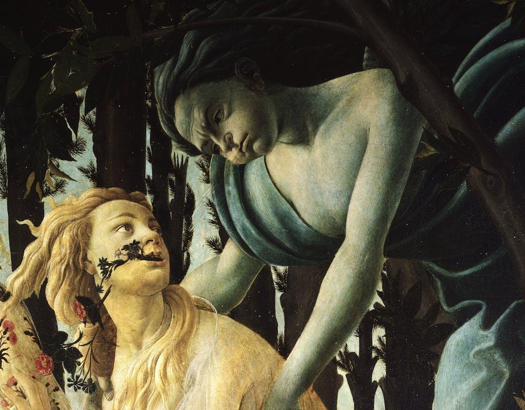 Botticelli, Primavera, 1480c, Zefiro e Clori, part.