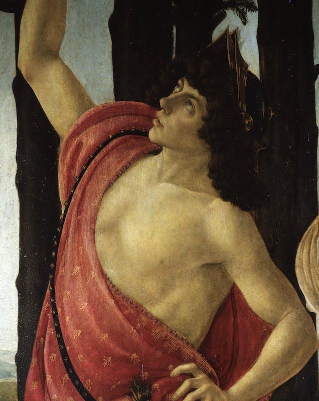 Botticelli, Primavera, 1480c, Mercurio, part.