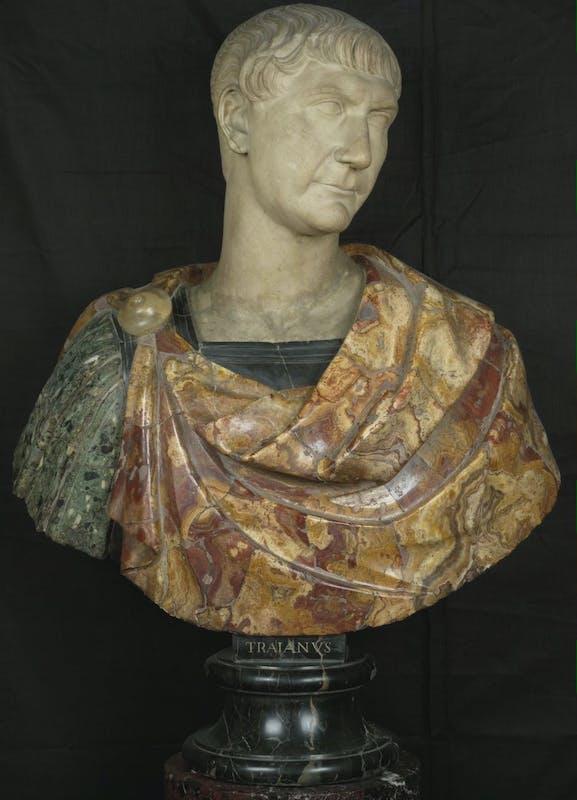 """""""Costruire un capolavoro.La colonna Traiana"""" Busto di Traiano,  inizio II secolo d.C.,  Galleria delle Statue e delle Pitture, Gallerie degli Uffizi, Firenze"""