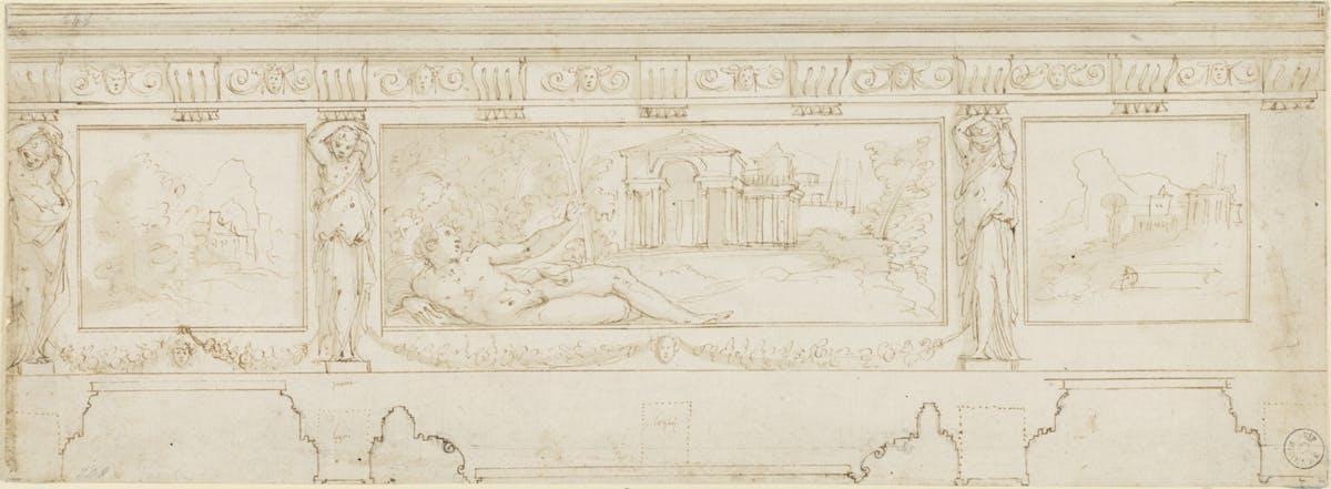 """""""I cieli in una stanza"""" Giorgio Vasari Studio per fregio penna e acquerello su carta bianca Gabinetto dei Disegni e delle Stampe, Gallerie degli Uffizi, Firenze"""
