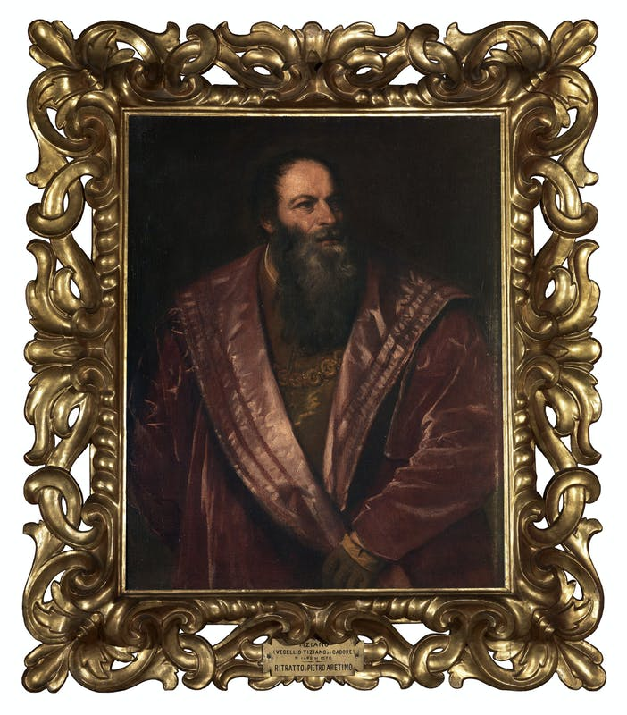 """""""Pietro Aretino e l'arte del Rinascimento"""" Tiziano Vecellio Ritratto di Pietro Aretino olio su tela 1545 Galleria Palatina, Gallerie degli Uffizi, Firenze"""