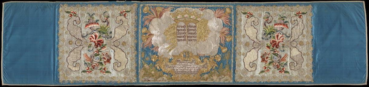 """""""Tutti i colori dell'Italia ebraica"""" Mappà Ambron 1795-1796 raso ricamato e raso, taffetas, velo, ricamati a riporto, Museo ebraico di Roma"""