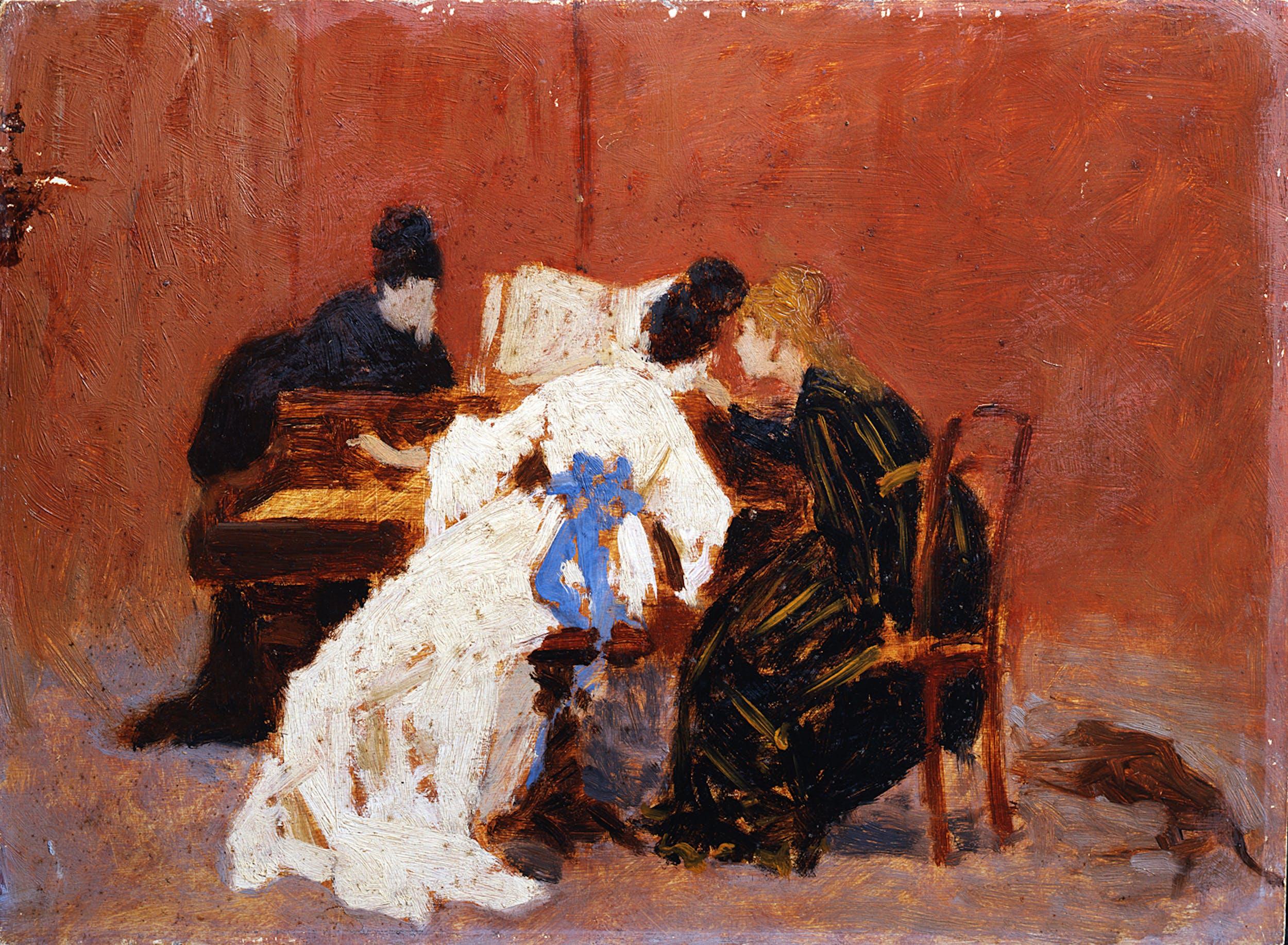 """""""Lessico femminile"""" Federico Zandomeneghi Al pianoforte Galleria d'arte moderna di Palazzo Pitti, Gallerie degli Uffizi, Firenze"""