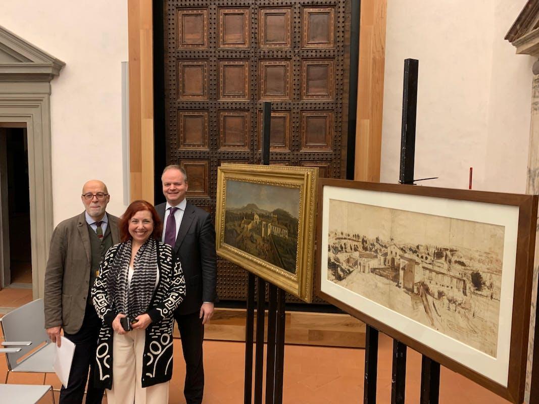 Giorgio Marini, Marzia Faietti e il Direttore Eike Schmidt alla presentazione