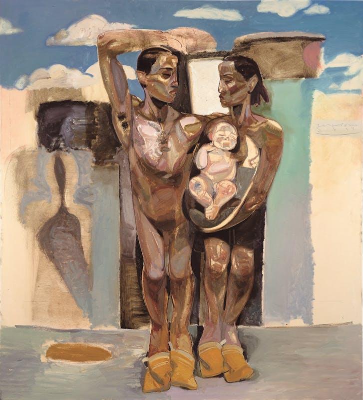 Tesfaye Urgessa, Die Waschlappen (The bath mitts, I guanti da bagno), 2018, olio su tela, oil on canvas.