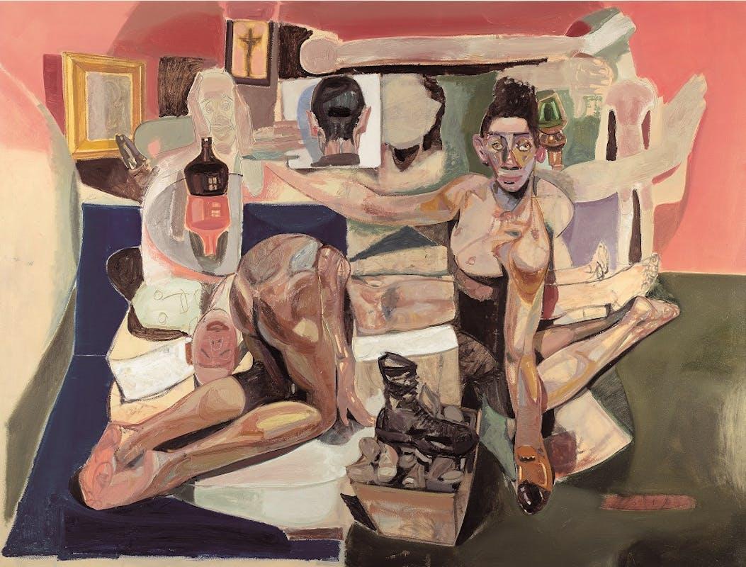 Tesfaye Urgessa, Ich halte dich fest halten 1, (I hold you firmly 1, Ti tengo stretto 1), 2018, olio su tela, oil on canvas.
