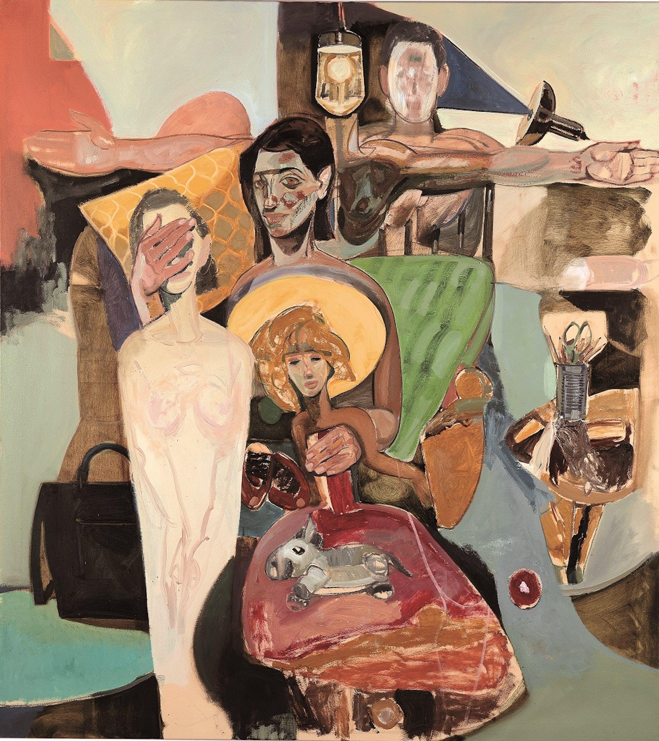 Tesfaye Urgessa, Ich halte dich fest halten 2 (I hold you firmly 2, Ti tengo stretto 2), 2018, olio su tela, oil on canvas.
