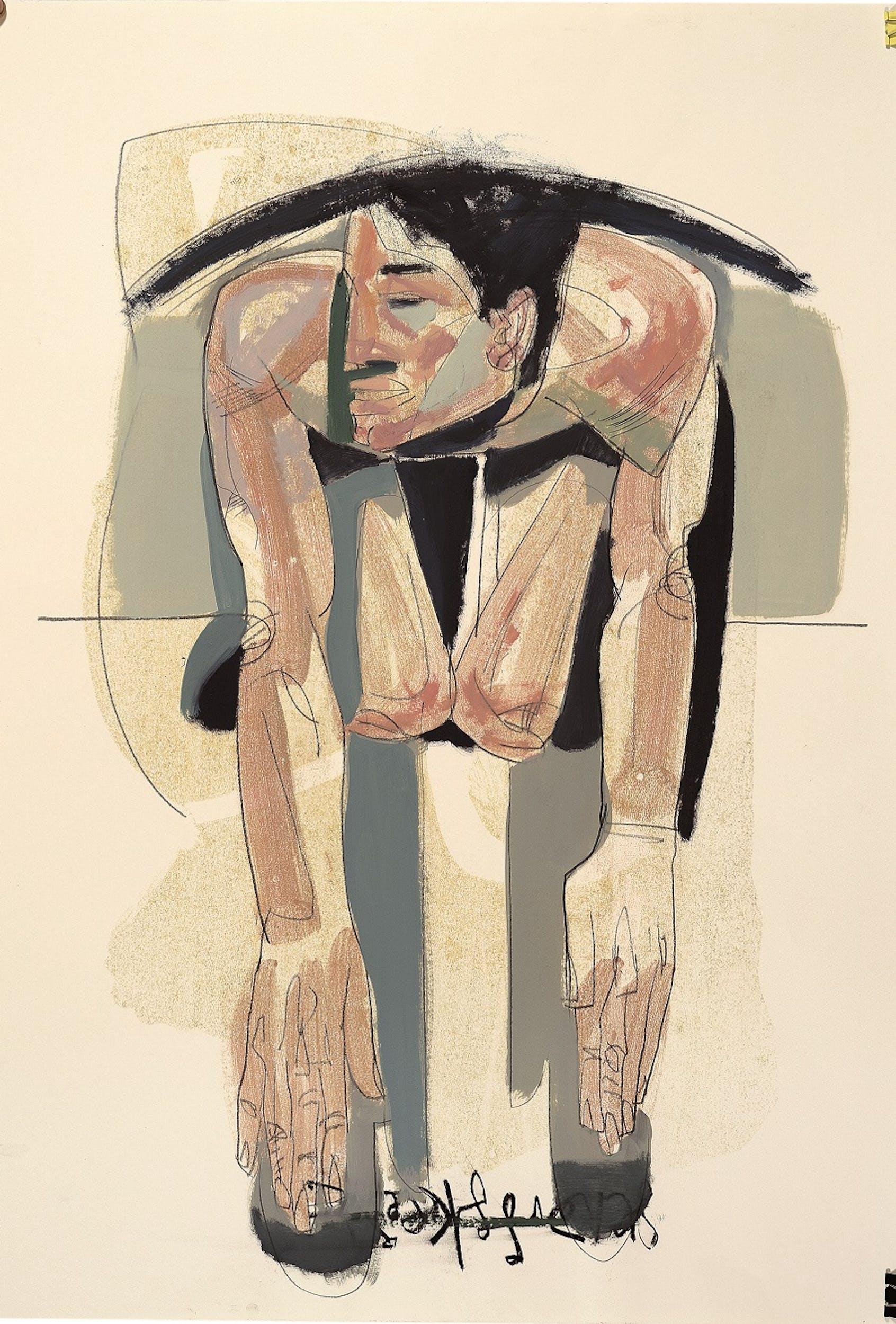 Tesfaye Urgessa, Innocence (Innocenza) 2018, olio su carta - monotipo, oil on paper - monotype.