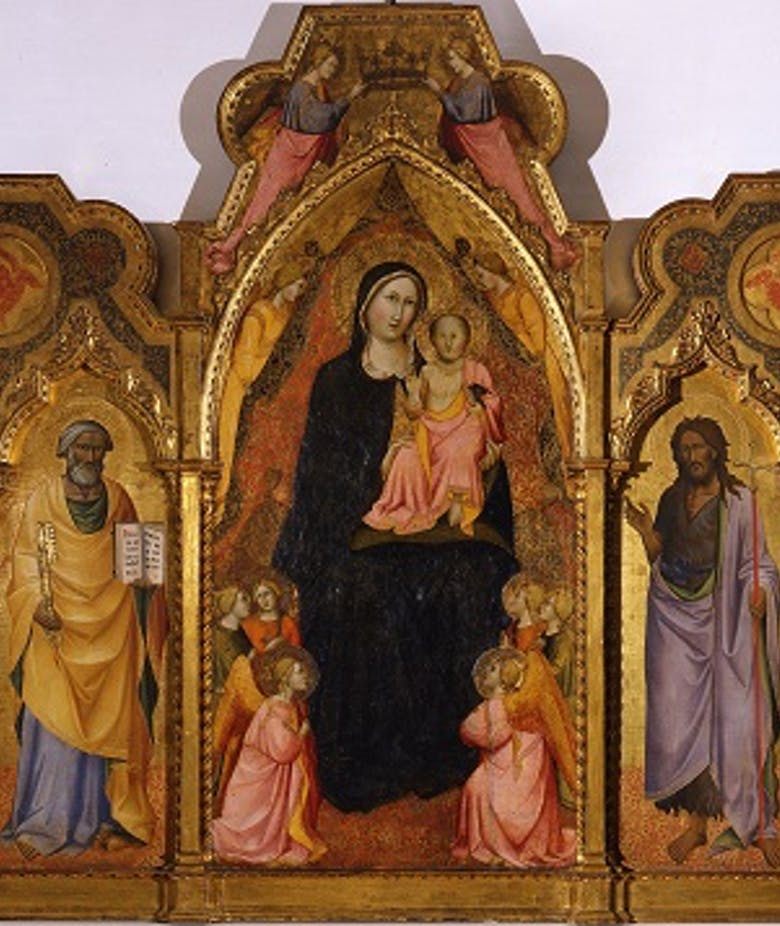 Virgin and Child with ten angels and the Saints Benedict, Peter, John the Baptist and Miniatus