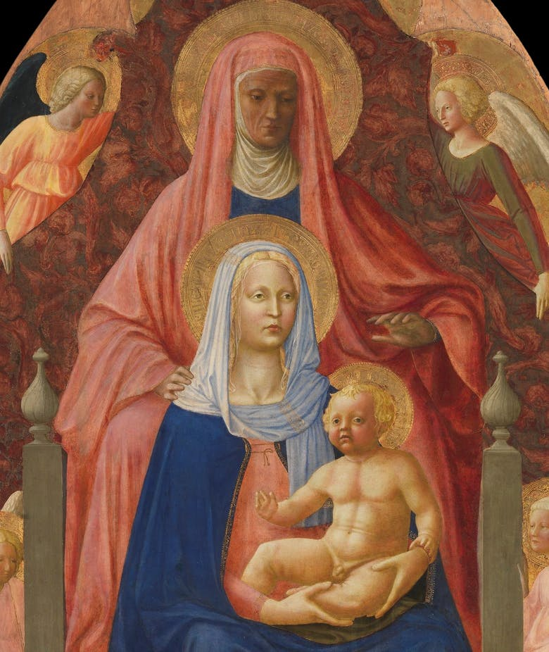 """Sant'Anna, la Madonna col Bambino e cinque angeli (""""Sant'Anna Metterza"""")"""