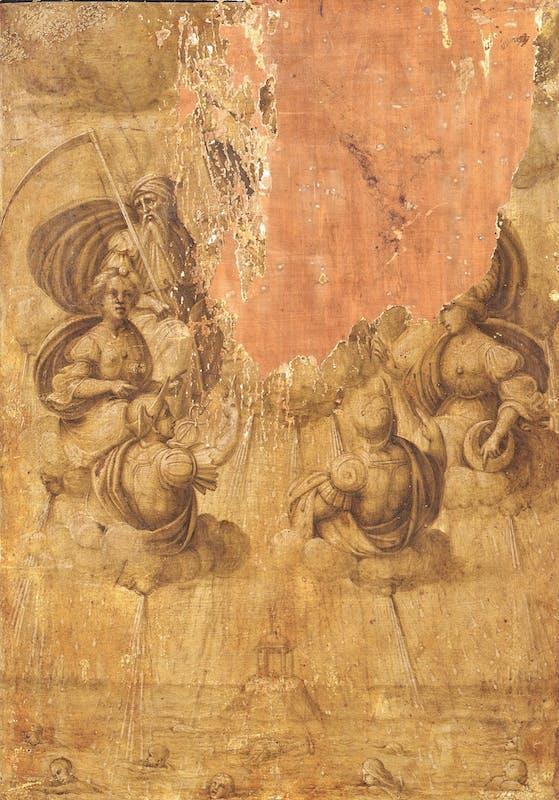 Maestro di Serumido, 1504-07, Il diluvio, recto del Ritratto di Agnolo Doni