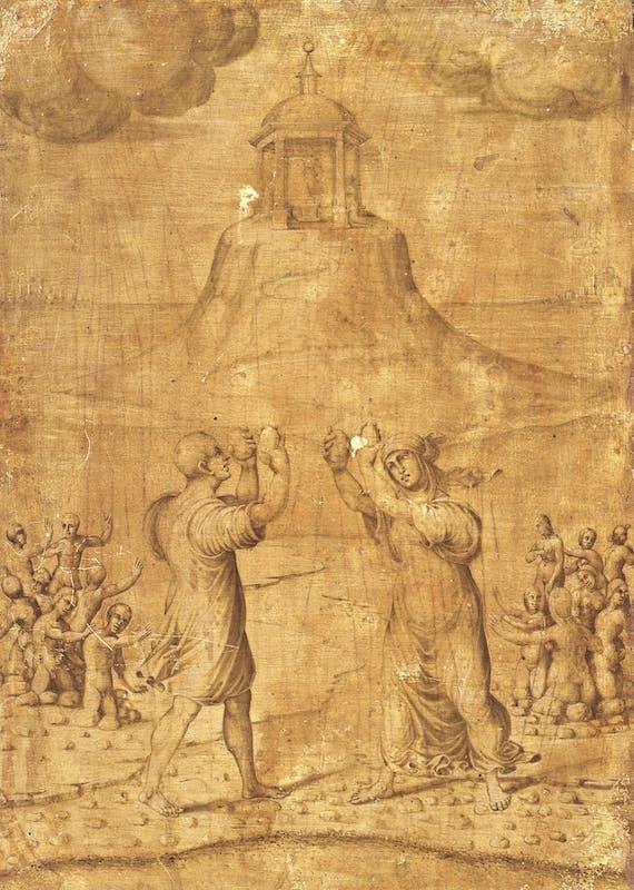 Maestro di Serumido, Deucalione e Pirra, 1504-1507, recto del Ritratto di Maddalena Strozzi