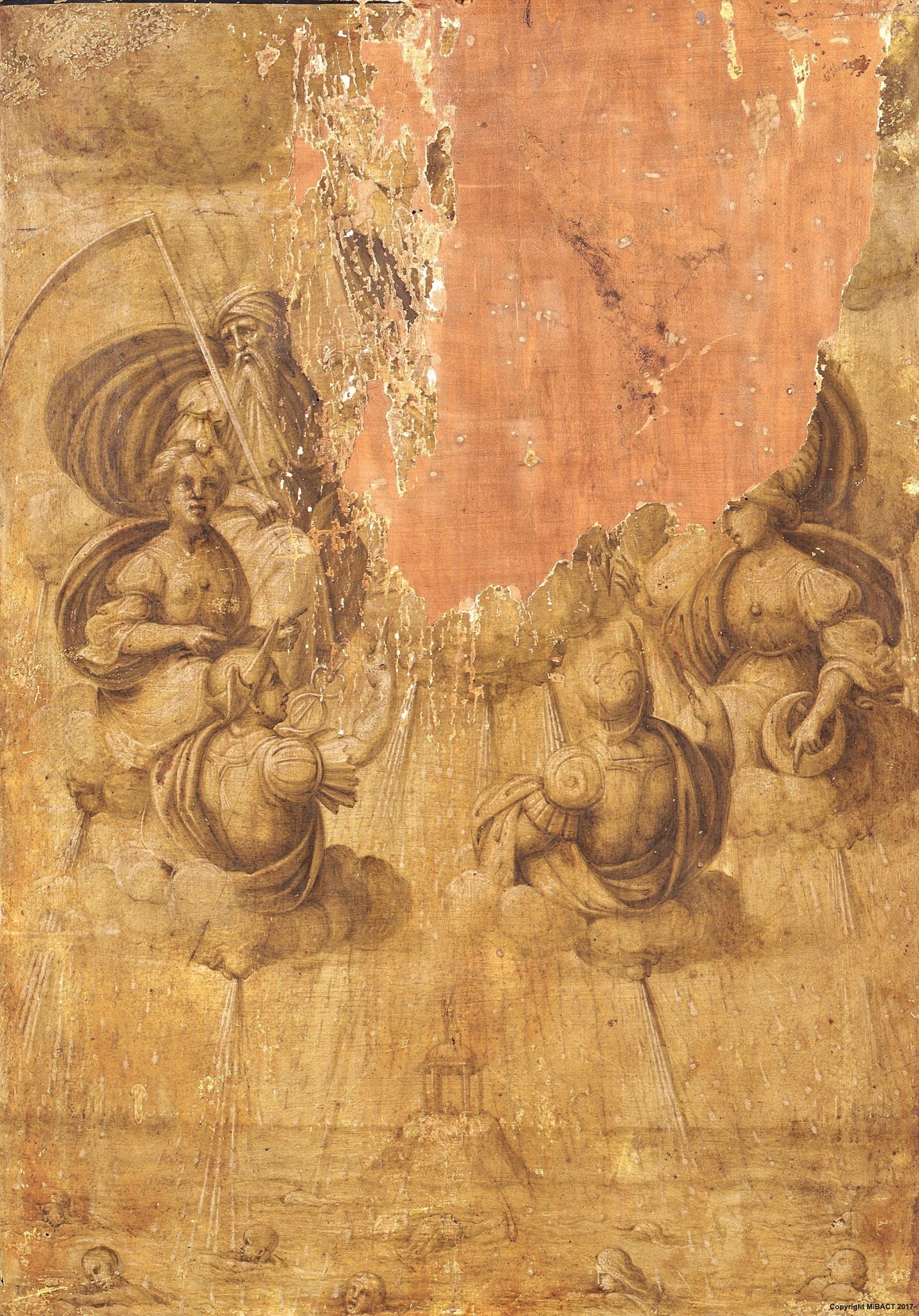 Maestro di Serumido, Diluvio degli Dei, recto del ritratto di Agnolo Doni | Maestro di Serumido, the Flood, back of Agnolo Doni portrait