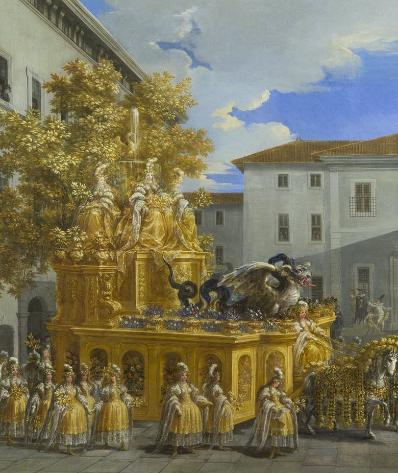 Johann Paul Schor's Golden Float.  The ephemeral splendour of the Baroque carnival